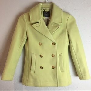 J. Crew Stadium Cloth Nello Gori yellow pea coat